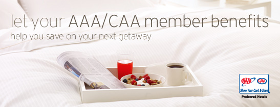 AAA SAVINGS-ROOM DISCOUNTS& DAILY BREAKFAST FOR TWO
