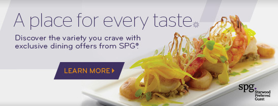 More reasons to dine with SPG with a 10% discount for SPG members.