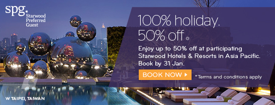 100% holiday. 50% off. For a limited time only, book before 7th February for stays till 31st May 2016.