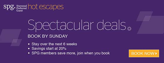 Book by Sunday October 23, 2016 and enjoy at least 20% discount on your room rate, and up to 25% discount if you're an SPG® member.