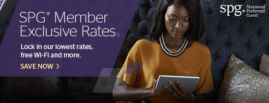 SPG Members Rate:  get up to 5% off our lowest rates, free Wi-Fi and earn Starpoints on your stay.
