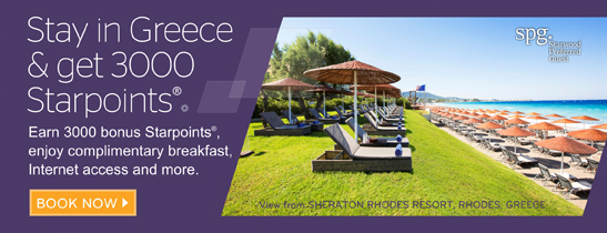 Earn 3000 bonus Starpoints® during your next stay in Greece, plus breakfast is on us.