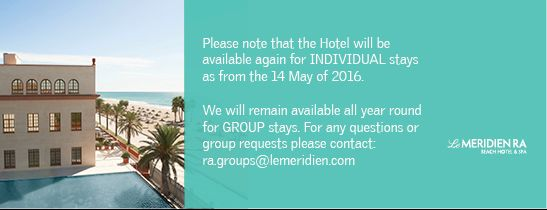 The Hotel will re-open for individual stays in May 2016