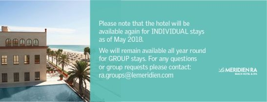 Le Méridien Ra will be available again for individual stays as of May 2018