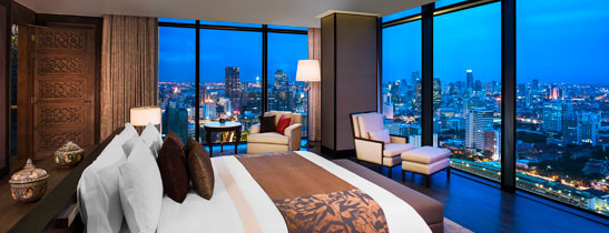 The master bedroom of The Penthouse at The St. Regis Bangkok commands unparalleled views of the city.