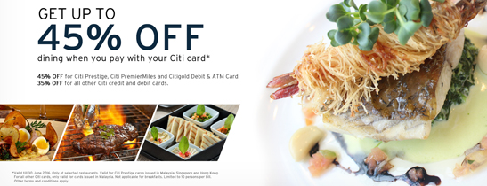 Up to 45% off with Citibank