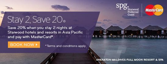 Save 20% when you stay 2 nights at Starwood hotels and resorts in Asia Pacific before 14 July 2017 and pay with your MasterCard®.