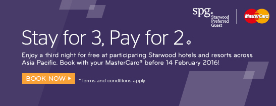 Enjoy a third night for free when you book with your MasterCard® before 14 Feb 2016.