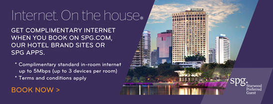 Complimentary Internet Access when you book on SPG.com, Hotel Brand Sites or SPG® Apps