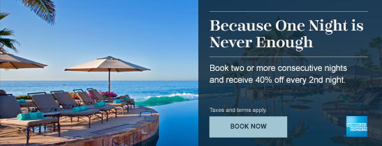 Save up to 40% when booking with your American Express!