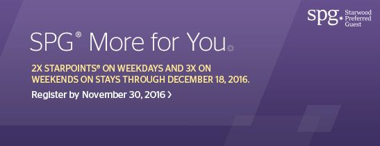 Earn 2X and 3X Starpoints® with SPG® More for You.