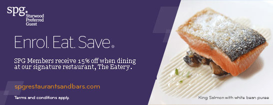 Enrol to SPG and save 15% on food at The Eatery