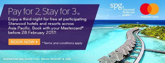 Pay for 2, stay a 3rd night free with MasterCard®.