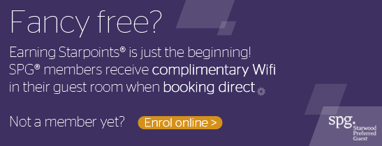 SPG® members get free internet when booking direct. Enrol now!