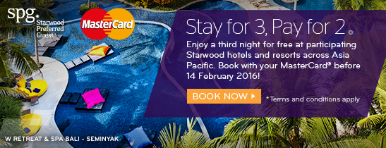 Enjoy a third night for free when you book with your MasterCard® before 14 February 2016.
