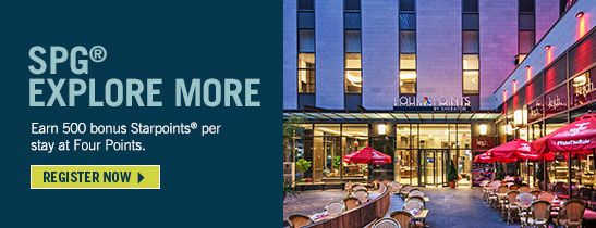 Register for the SPG® Explore More global promotion. You can earn thousands of bonus Starpoints® when you stay at participating hotels between September 12, 2017, and January 15, 2018.